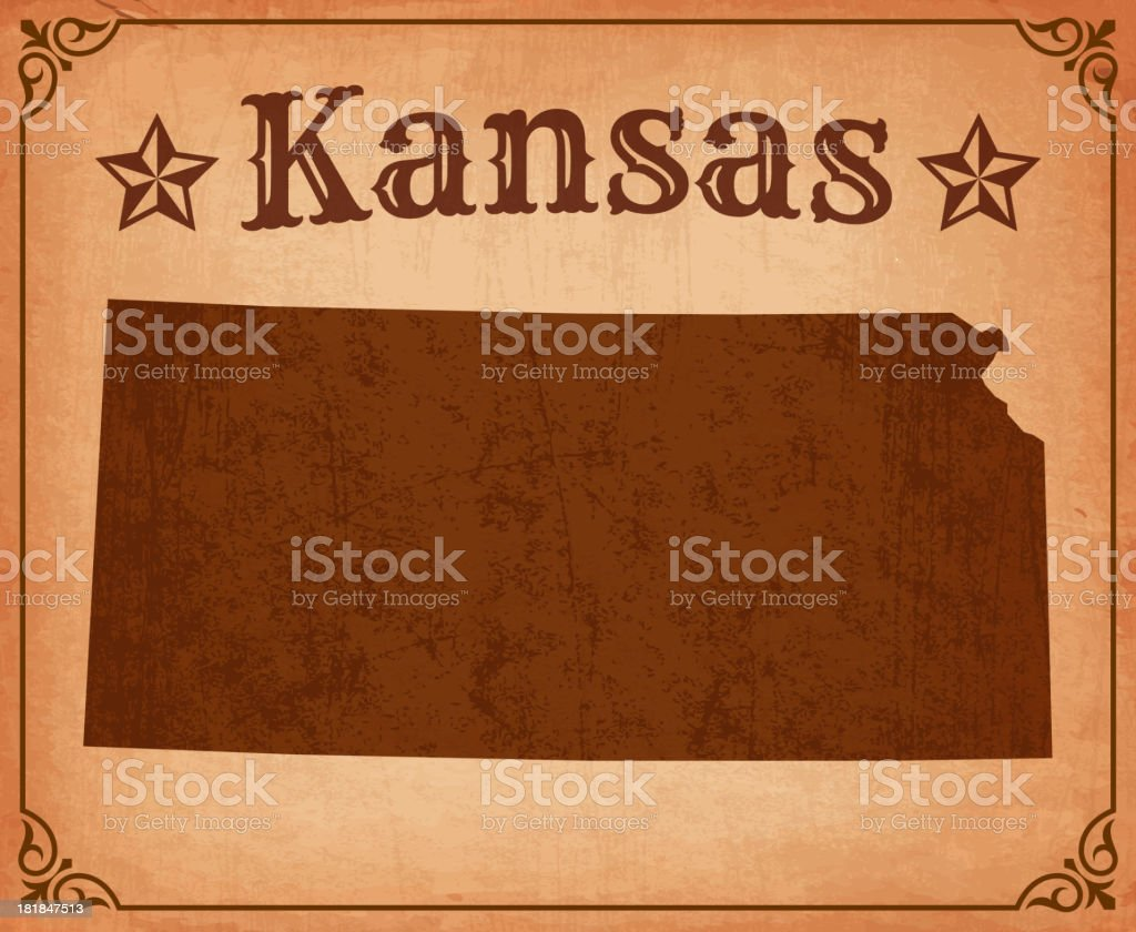 Picture of state of Kansas on grunge map with frame. royalty-free picture of state of kansas on grunge map with frame stock vector art & more images of american culture