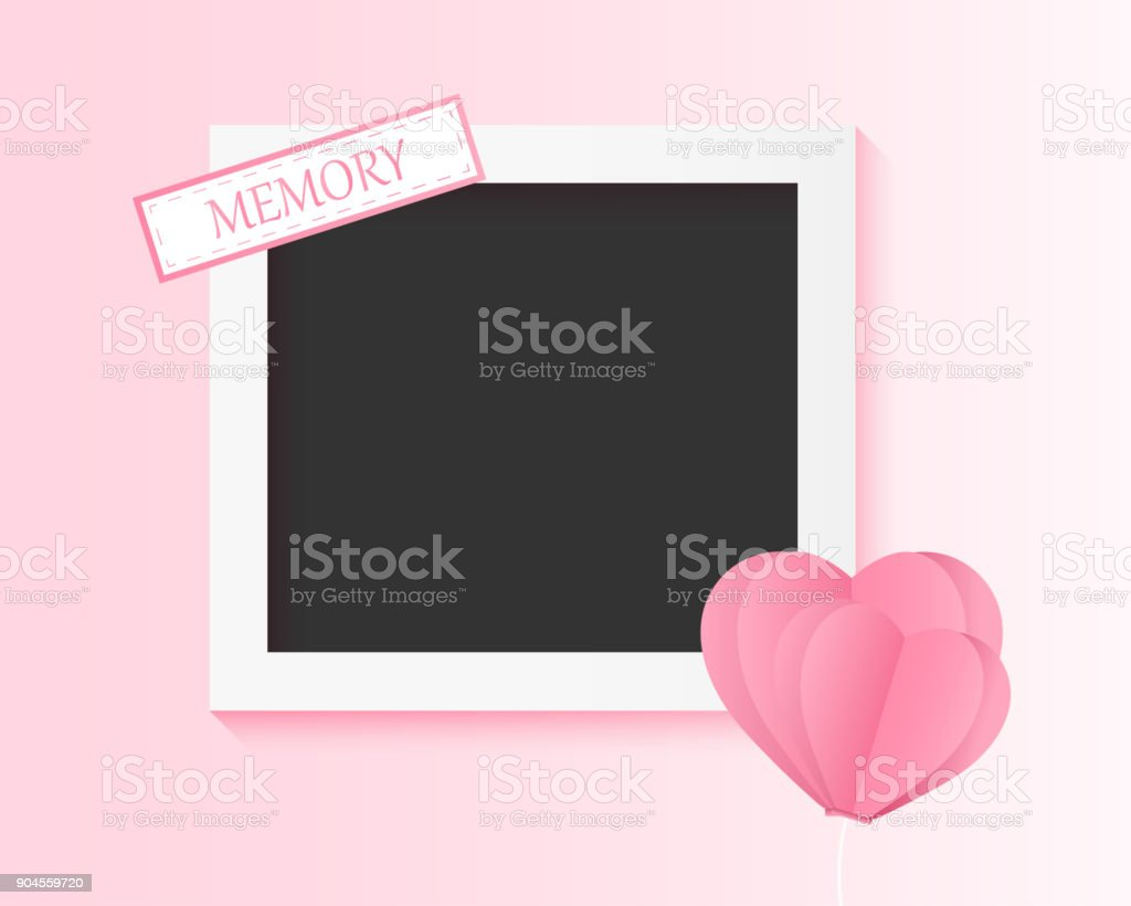 picture of the couple memory, photo frame with balloon heart valentine day , card invitation wedding lover younger style , vector illustration paper note