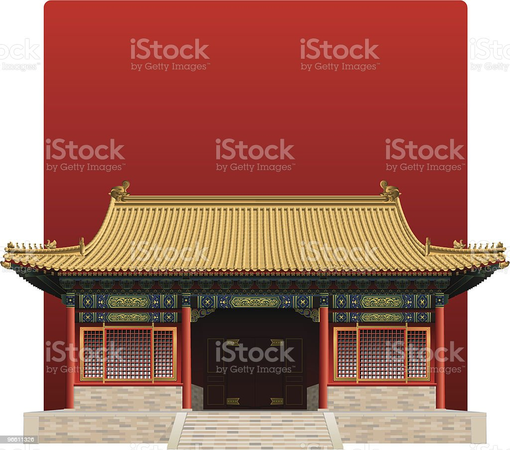 Picture of the Forbidden City from China on a red background - Royalty-free Architecture stock vector