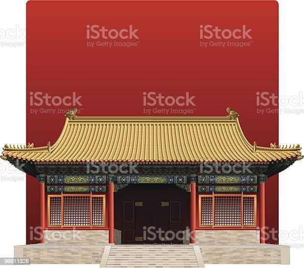 Picture Of The Forbidden City From China On A Red Background-vektorgrafik och fler bilder på Arkitektur