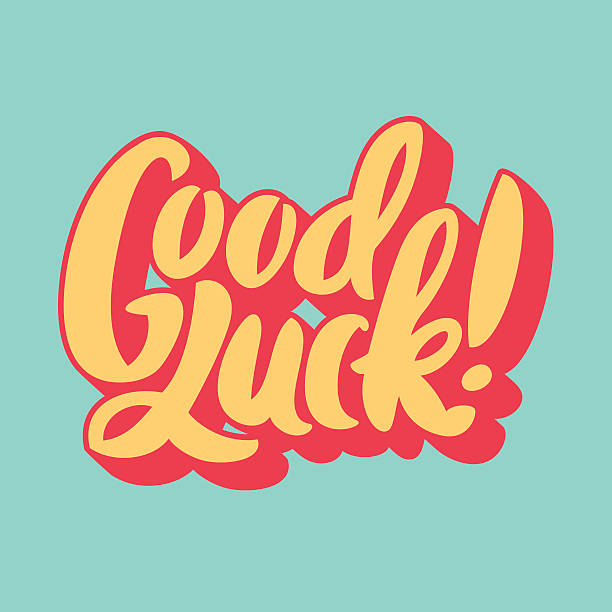 Picture of the words Good Luck on a light green background vector art illustration