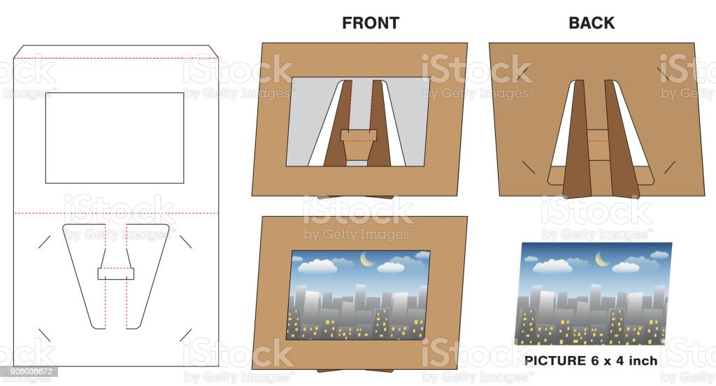 Picture Photo Paper Frame Stand Diecut Mockup Stock Vector Art ...