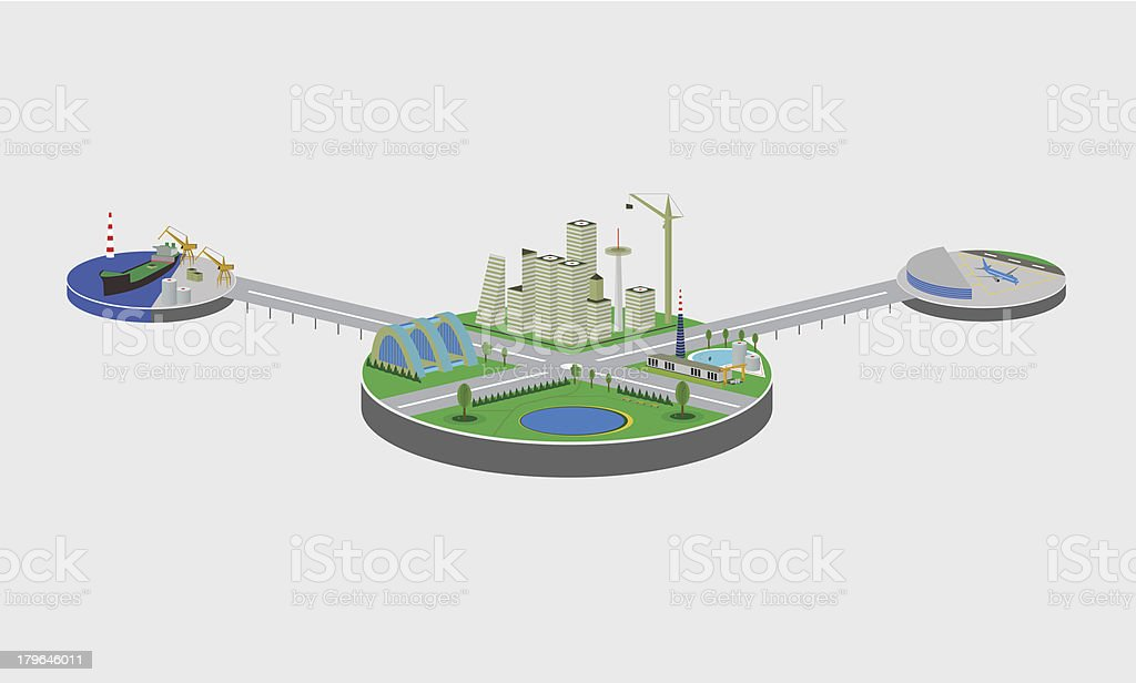 Picture showing what you need to connect city to the world royalty-free stock vector art