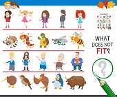 Cartoon Illustration of Finding Picture that does not Fit in a Row Educational Task for Elementary Age or Preschool Children