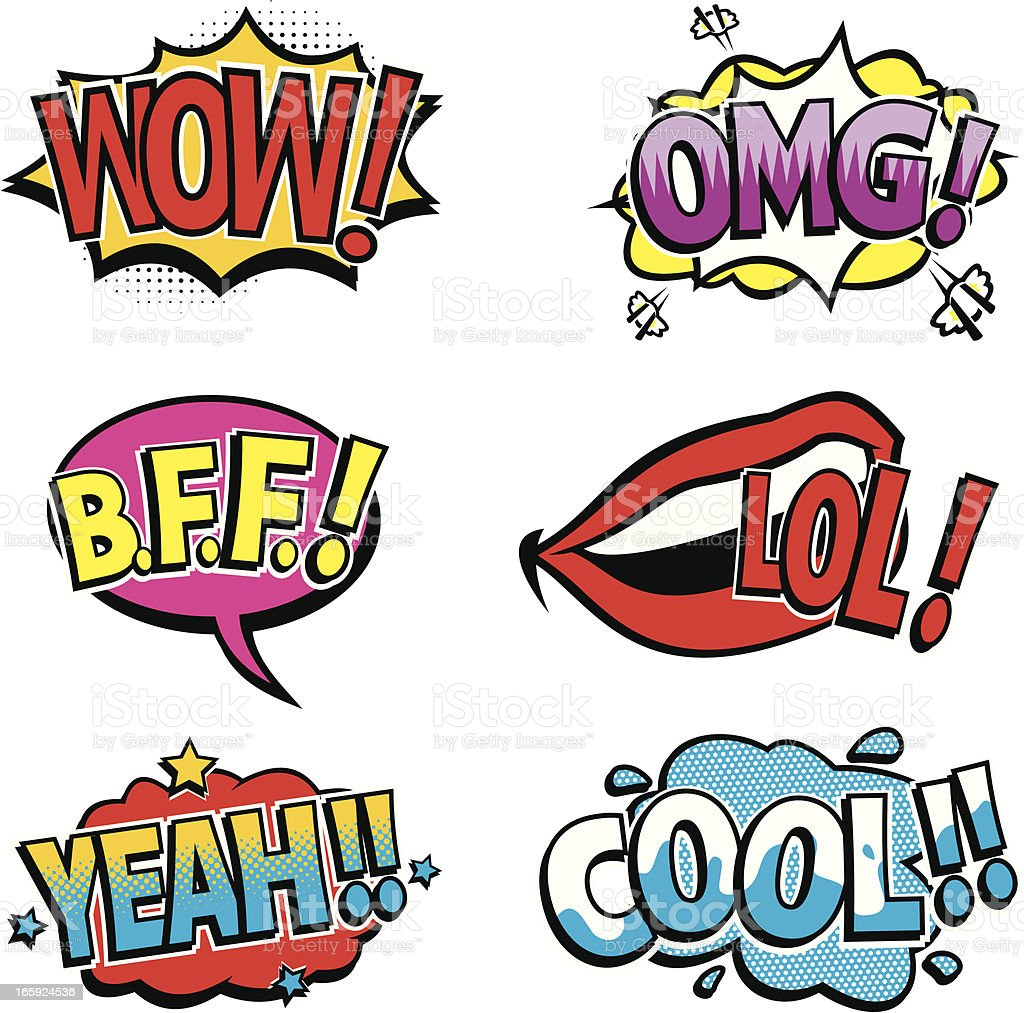 Pictured cartoon texts of the comic book sounds royalty-free stock vector art