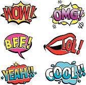 Comic book style sounds and design elements. Wow, OMG, BFF, LOL, Yeah and Cool!