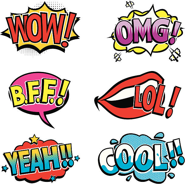 Pictured cartoon texts of the comic book sounds vector art illustration