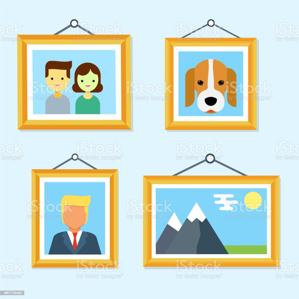 Pictures In Wooden Frames Hanging On The Wall Stock Vector Art ...
