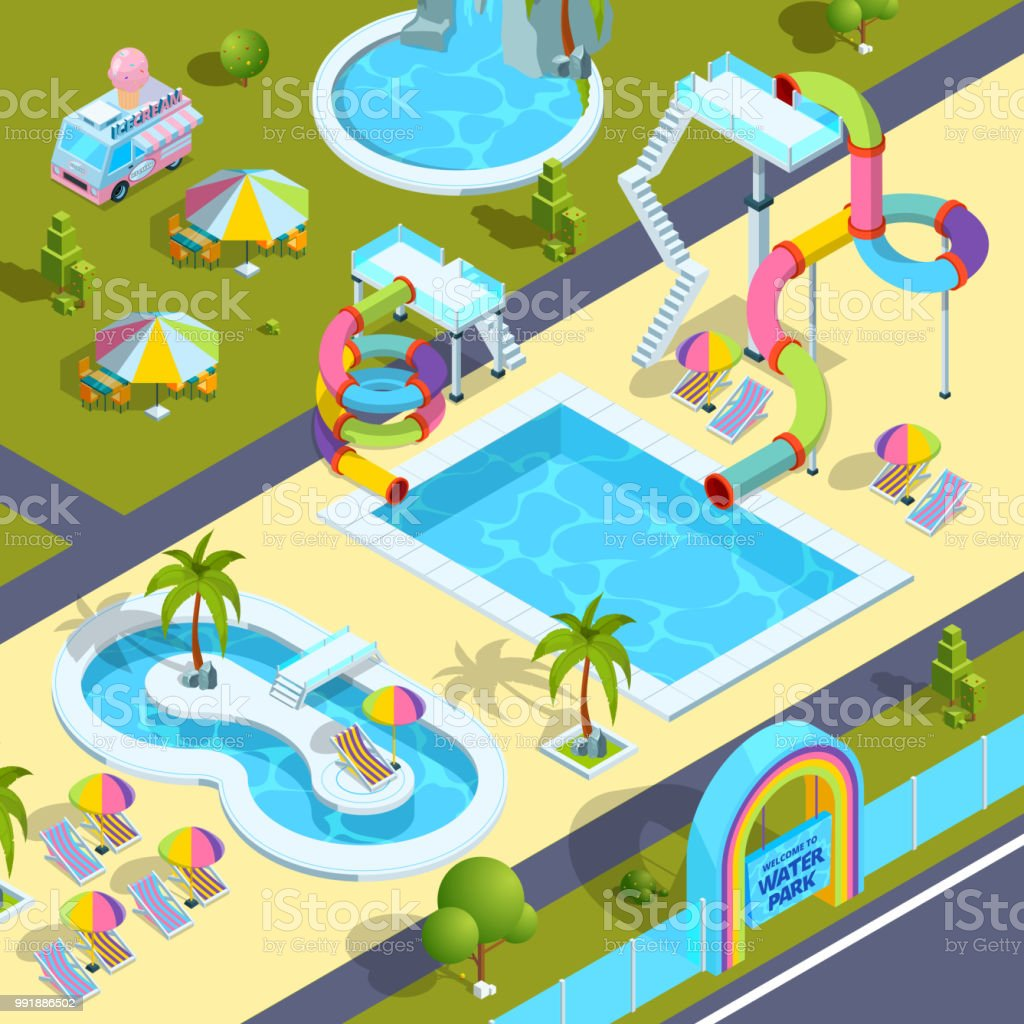 Pictures of outdoor attractions in water park. Vector isometric illustrations vector art illustration