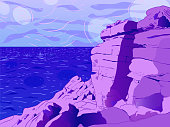 Picturesque art landscape - Cliffs by the ocean.