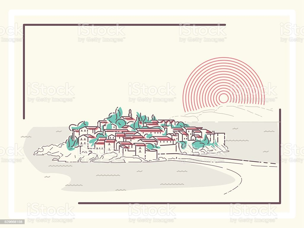 Picturesque Mediterranean Town vector art illustration