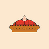 Pie Cake Icon Happy Thanksgiving Day Autumn Traditional Harvest Holiday Concept
