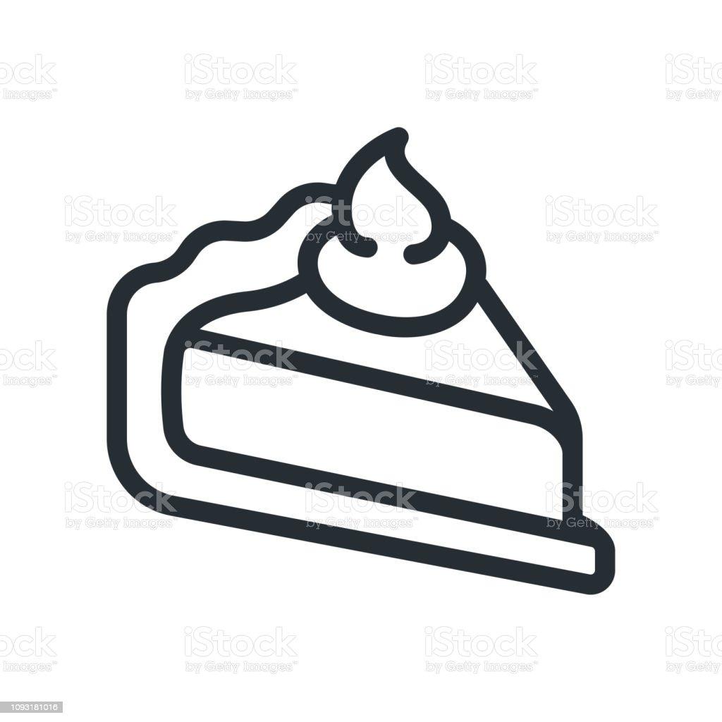 Kuchen Kuchen Stück Stück Flache Linie Schlaganfall Symbol Piktogramm Stock  Vektor Art und mehr Bilder von Bäckerei