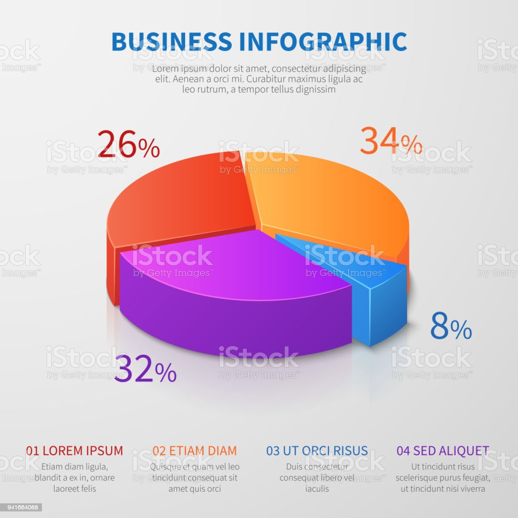 Pie Chart 3d Graph Vector Design With Percentages And Options For