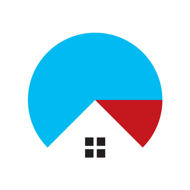 pie chart and house - real estate logos stock illustrations, clip art, cartoons, & icons
