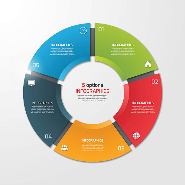 pie chart circle infographic template with 5 options. - pojedynczny stopień stock illustrations