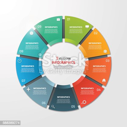 istock Pie chart circle infographic template with 9 options. 588389274