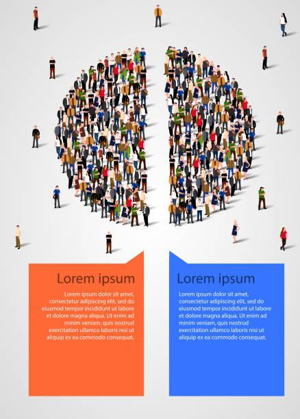ilustraciones, imágenes clip art, dibujos animados e iconos de stock de gráfico compuesto de personas divididas por la mitad. infografía de las estadísticas y la demografía. - infografías demográficas