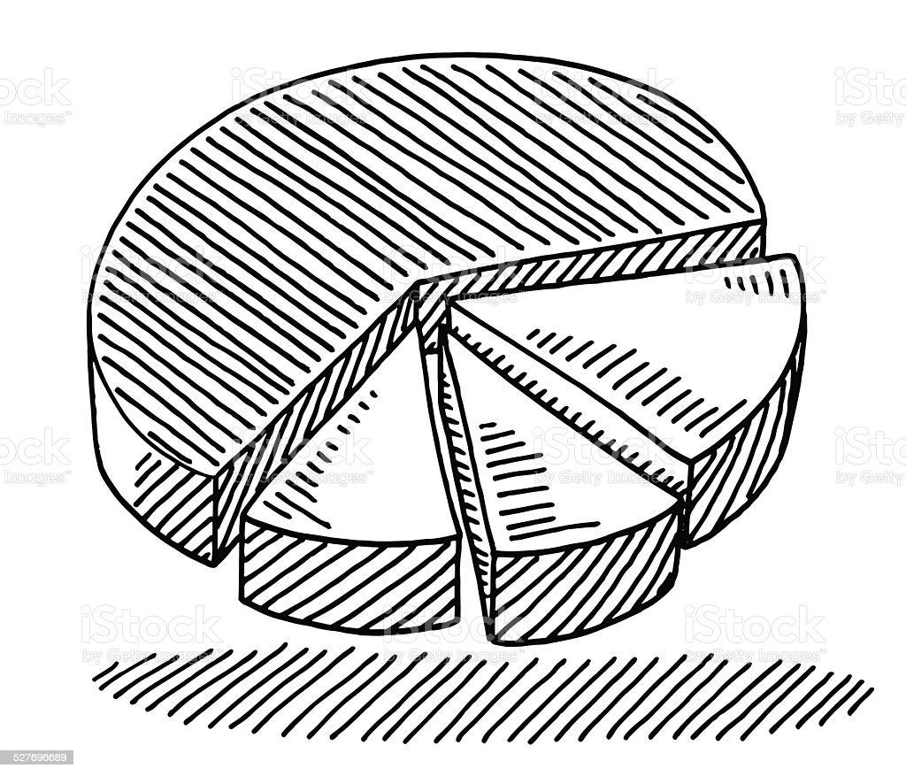 Pie Chart Diagram Drawing vector art illustration