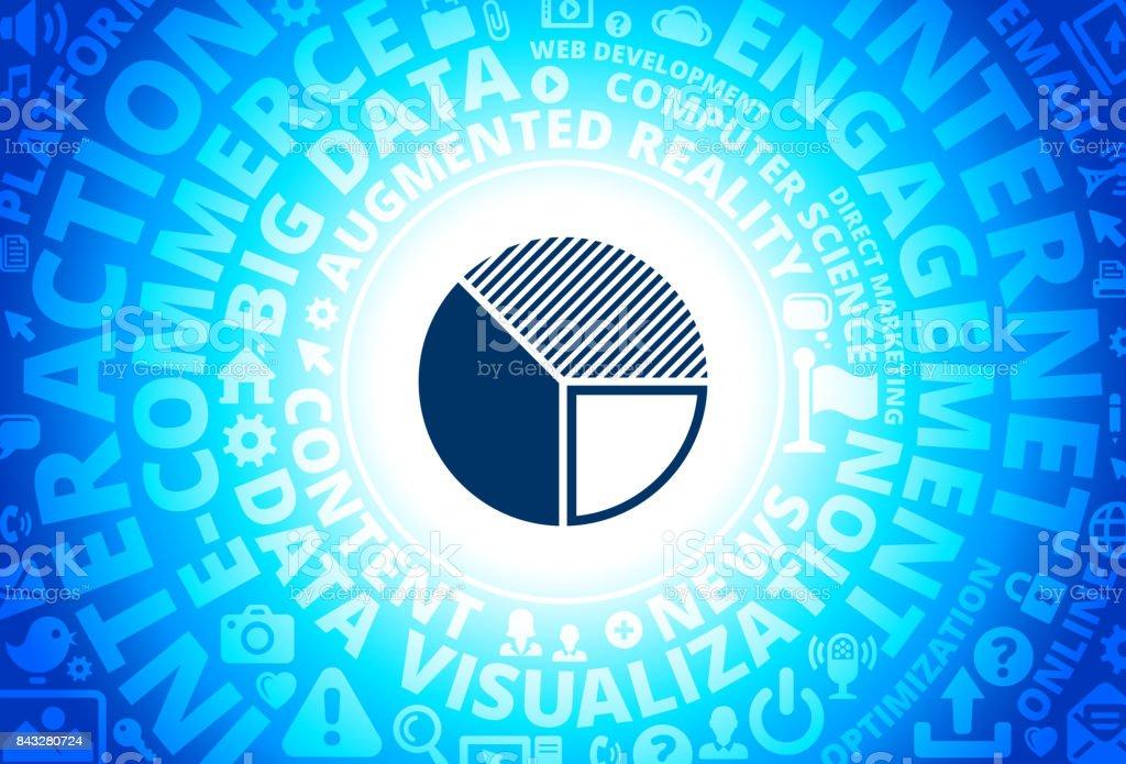 Pie Chart Icon on Internet Modern Technology Words Background vector art illustration
