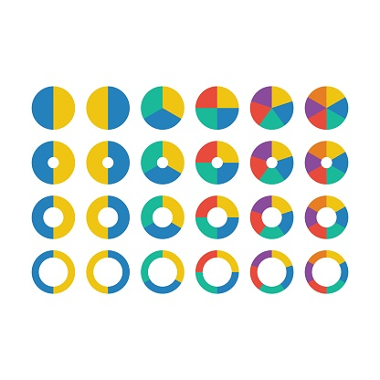 Pie chart icon vector graph diagram symbol for big data analytics reports and statistics information in a flat color