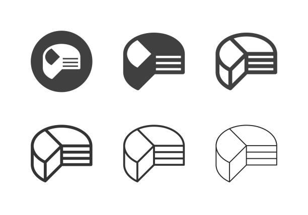 Pie Chart Icons - Multi Series vector art illustration