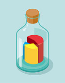Pie chart in glass bottle,the pie chart is divided into three parts: red, yellow, and blue. The stopper is brown wood and the background is blue.