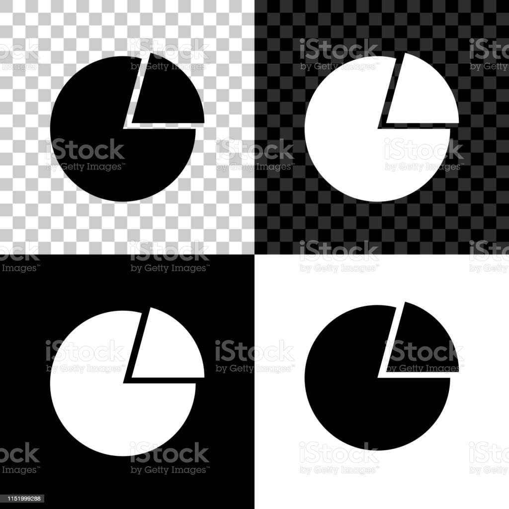 Pie Chart Infographic Icon Isolated On Black White And