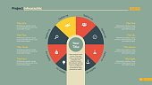 Pie chart infographic slide template with eight options. Element of chart, diagram, infographic. Concept for templates, presentation, report. Can be used for topics like business, finance