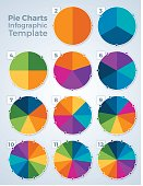 Pie chart graphic spinner infographic template concept with space for your copy. EPS 10 file. Transparency effects used on highlight elements.
