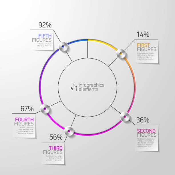 Pie chart infographics element Vector illustration with transparent effect. Eps10. topics stock illustrations