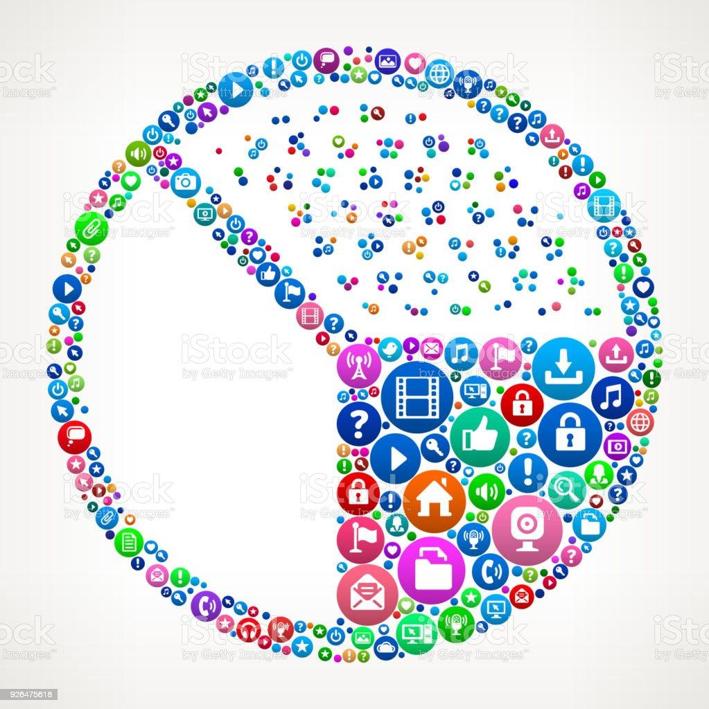 Pie Chart Internet Communication Technology Icon Pattern Stock