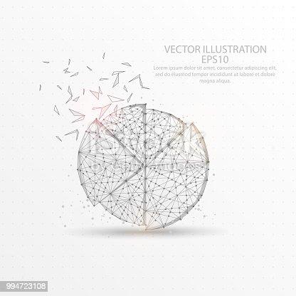 Kreisdiagramm Lowpolydrahtrahmen Auf Weißem Hintergrund Stock Vektor ...