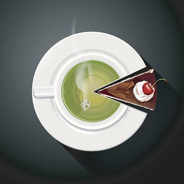 tortengrafik von grünem tee tasse und kuchen scheiben - keks grafiken stock-grafiken, -clipart, -cartoons und -symbole