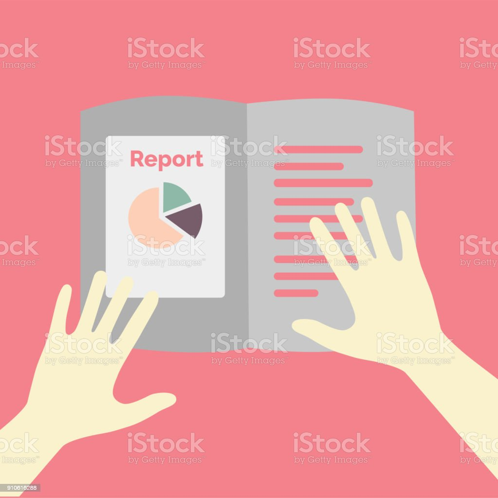 Pie chart on business annual report concept illustration vector art illustration