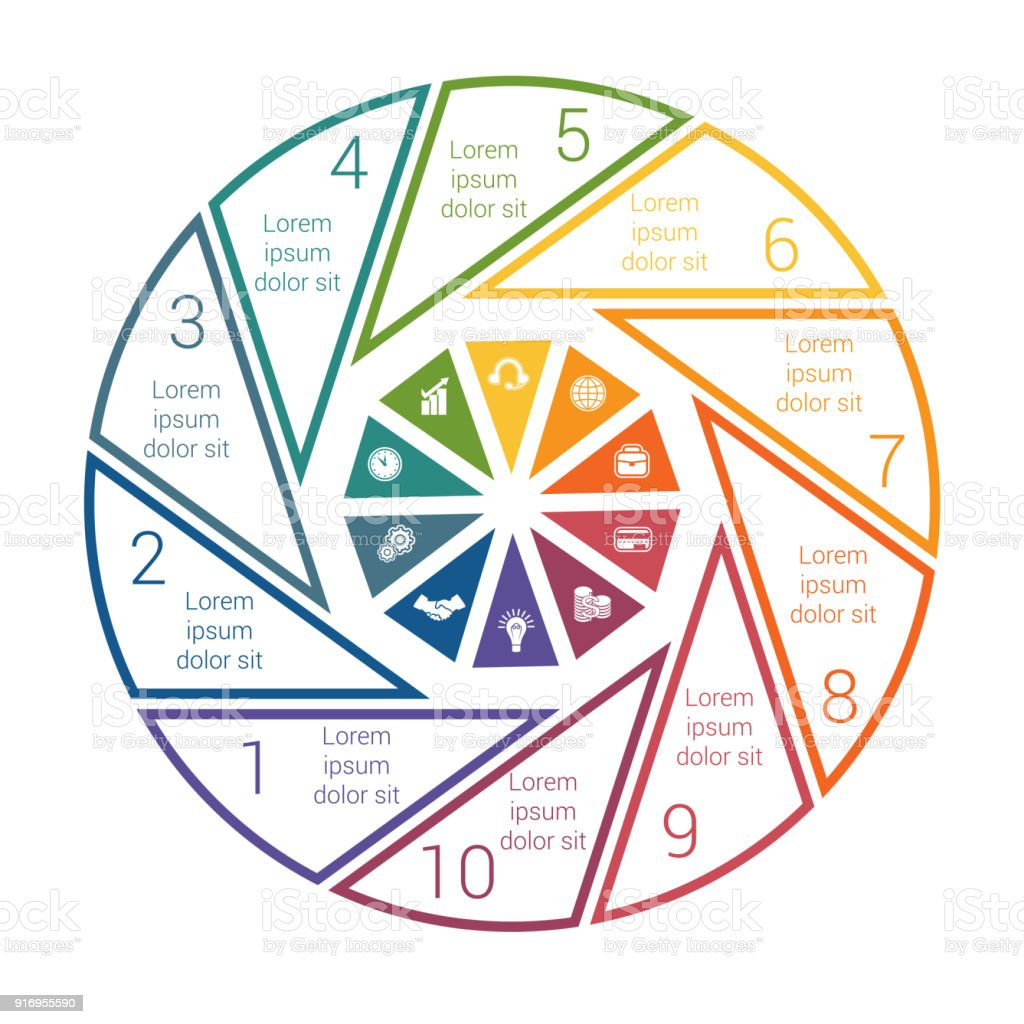 pie chart on white background from line for 10 options template
