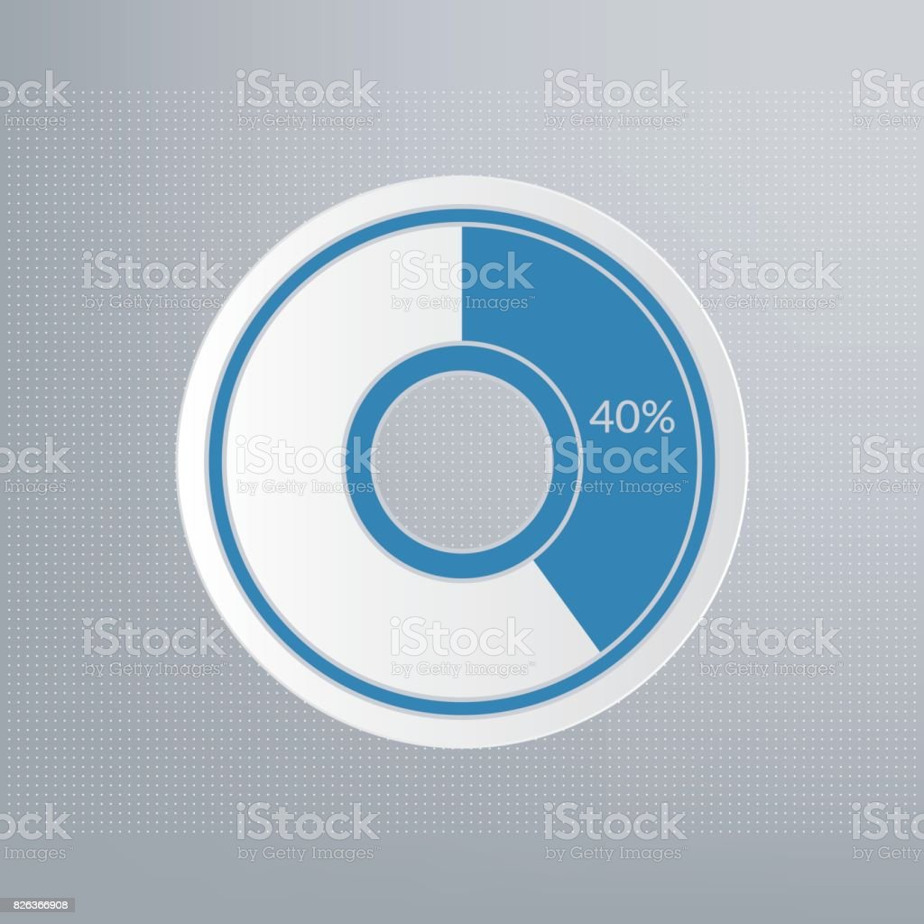 40 Pie Chart Percentage Vector Infographic Sign Forty Percent