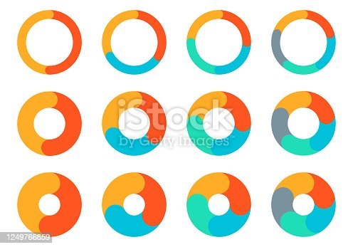 Pie chart set. Circle diagram design. Circular graph with 2, 3, 4, 5 steps for business presentation. Progress wheel infographic template. Vector illustration.