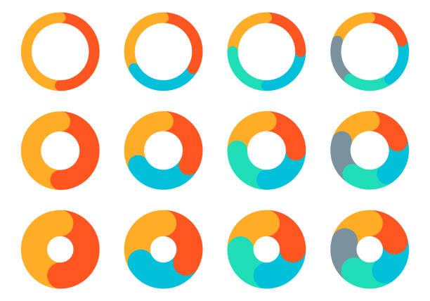 zestaw wykresów kołowych. projekt diagramu okręgu. wykres kołowy z 2, 3, 4, 5 kroków do prezentacji biznesowej. szablon infografiki koła postępu. ilustracja wektorowa. - część stock illustrations