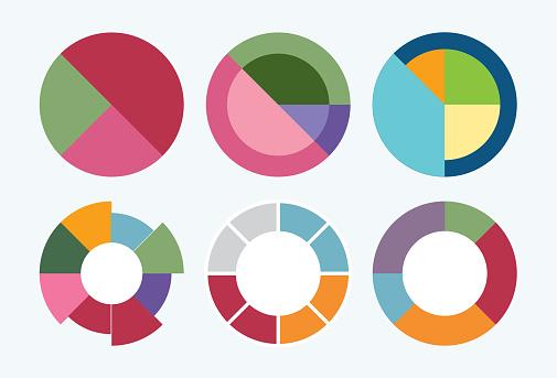 Pie chart set colorful diagram collection