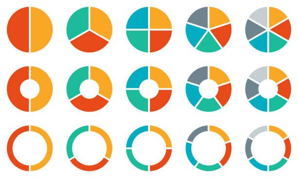 zestaw wykresów kołowych. kolorowa kolekcja diagramów z 2,3,4,5,6 sekcjami lub krokami. ikony kół dla infografiki, interfejsu użytkownika, projektowania stron internetowych, prezentacji biznesowej. ilustracja wektorowa. - część stock illustrations