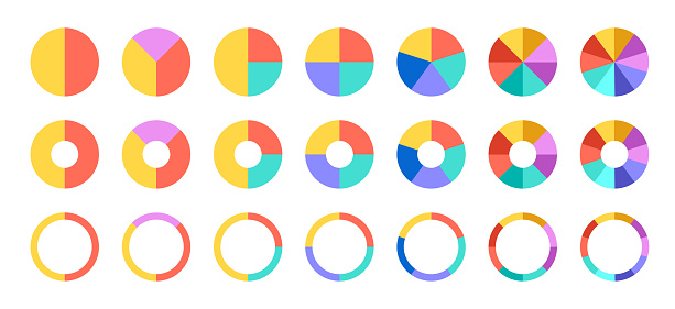 Pie chart set. Colorful diagram collection with 2,3,4,5,6 sections or steps. Circle icons for infographic, UI, web design, business presentation. Vector illustration