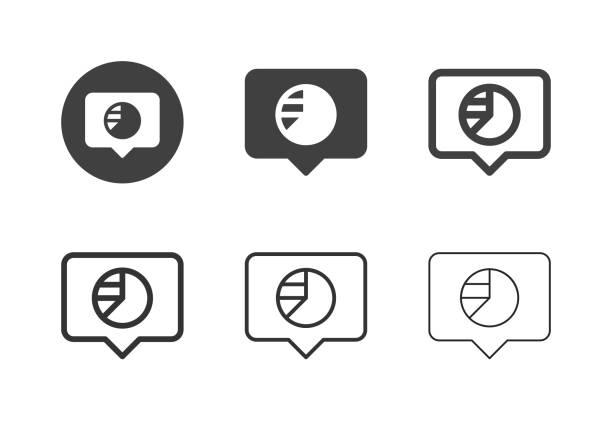 Pie Chart Speech Icons - Multi Series vector art illustration