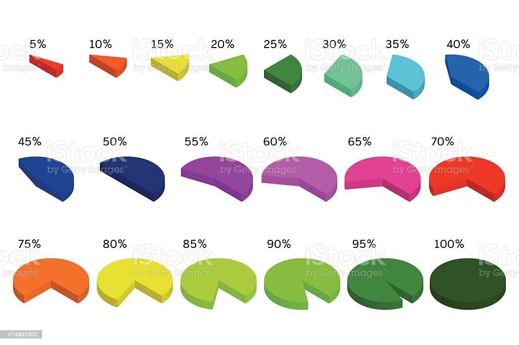 Ilustración de Diagrama Circular Juntos Y Porcentaje De Piezas ...