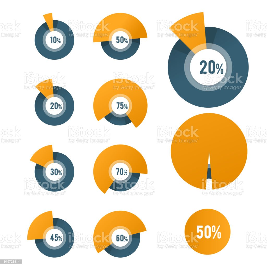 Pie chart template - circle diagram for business report or presentation vector art illustration