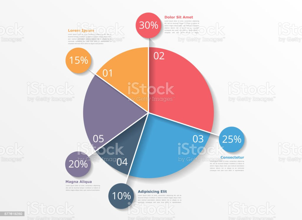 Pie Chart Template Stock Vector Art More Images Of Abstract