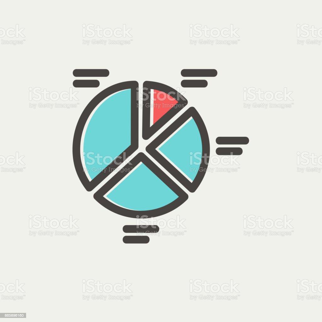 Pie chart thin line icon vector art illustration