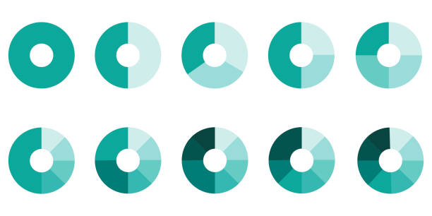 ilustraciones, imágenes clip art, dibujos animados e iconos de stock de gráfico circular. conjunto vectorial de diagramas. círculos con segmentos. foto de stock. - social media