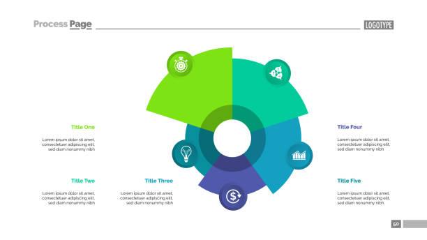 Gráfico con la plantilla de cinco elementos - ilustración de arte vectorial