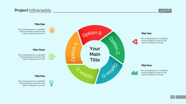 Pie Chart with Five Elements Template Pie chart with five elements. Diagram, option graph, layout. Business data. Creative concept for infographics, presentation, project. Can be used for topics like marketing, analysis, workflow. five people stock illustrations